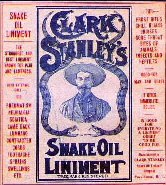 Nebraska Man promotion likened to snake oil promotion.